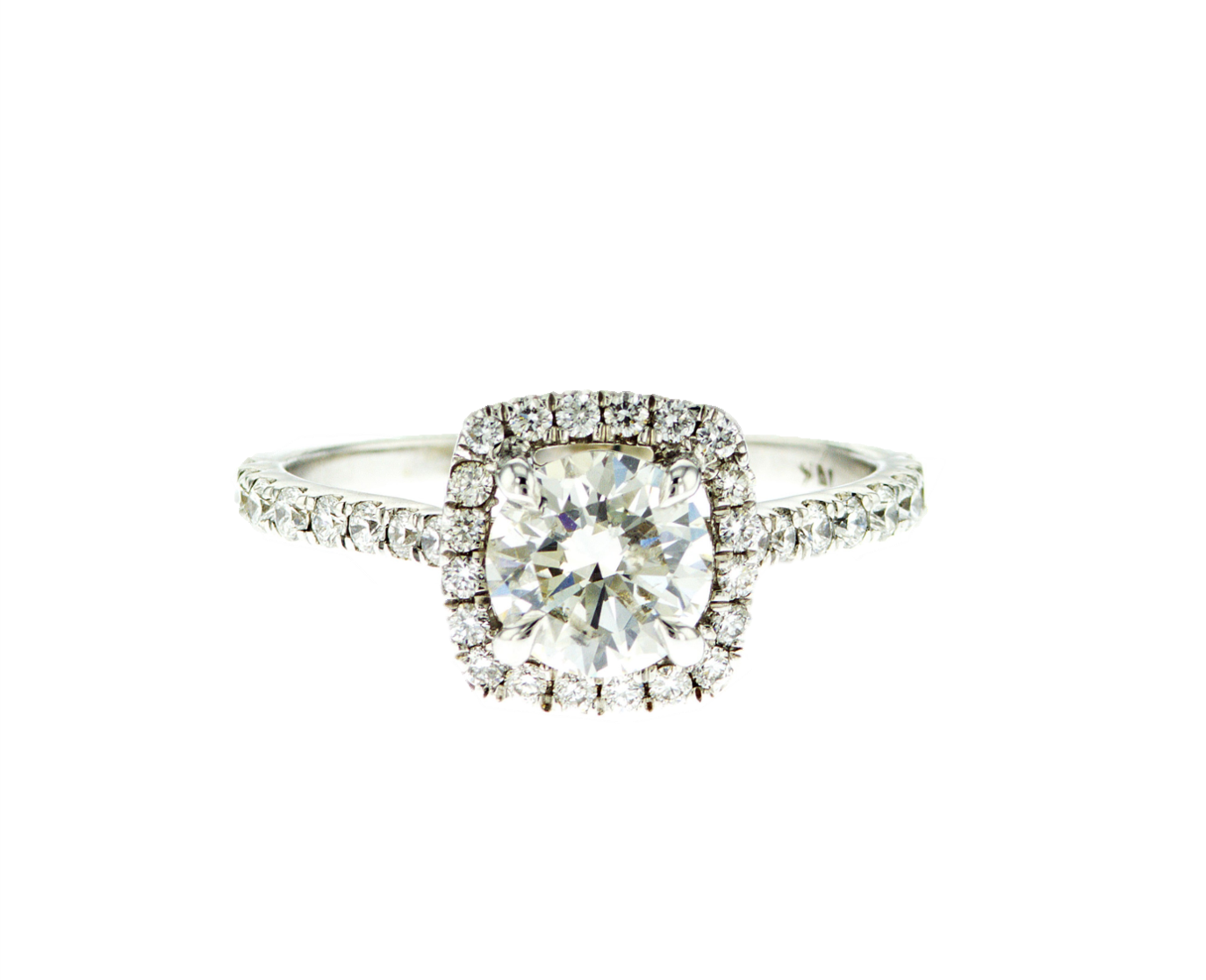 Round Diamond with Cushion Halo Ring