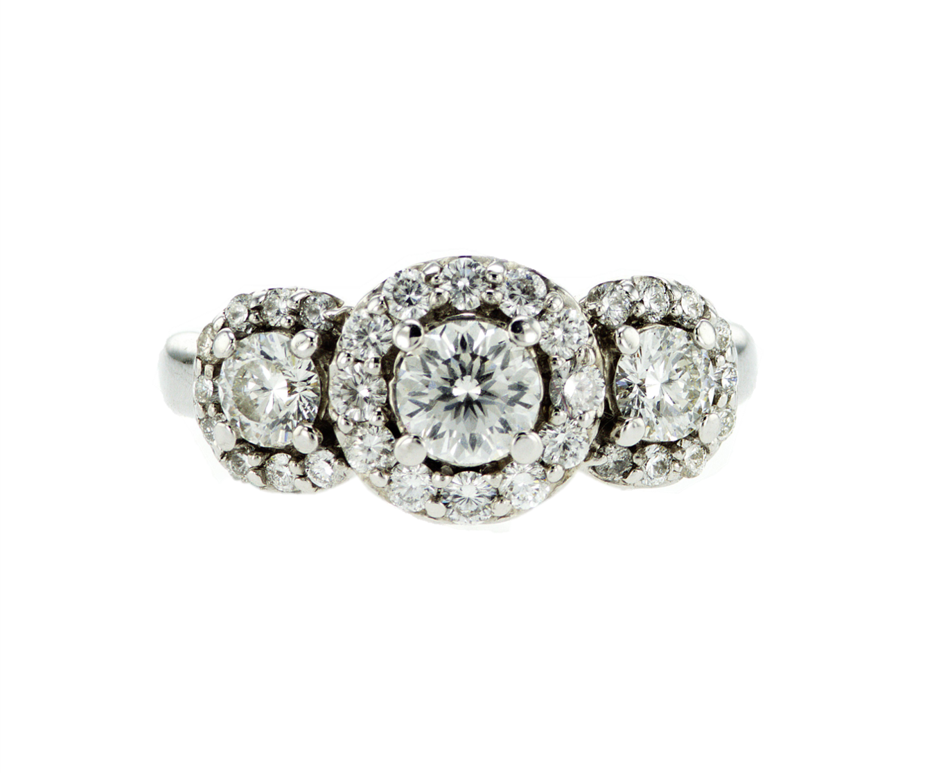 Round Diamond Three-Stone Halo Ring
