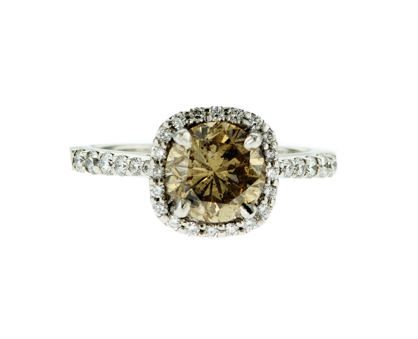 Fancy Brown Round Diamond White Gold Halo Ring