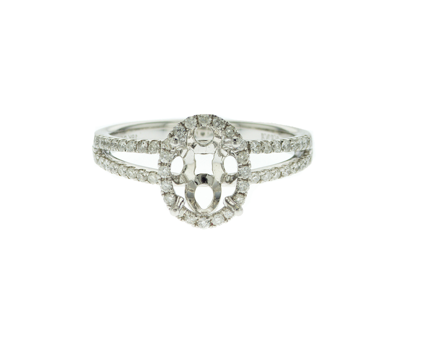 Oval Halo Split-Shank Engagement Ring