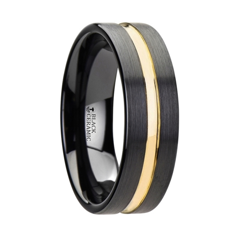 Black Ceramic Band With Yellow Gold Groove