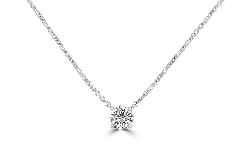 valentines gifts - Round Diamond Solitaire Necklace